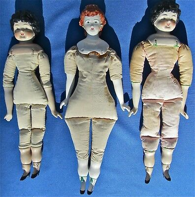3 Antique Vintage China Head Dolls German Cloth Body Porcelain Parian Lot Marked