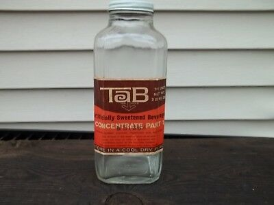 Old Coca Cola Tab Soda Fountain Syrup Bottle with Paper Label Part 1