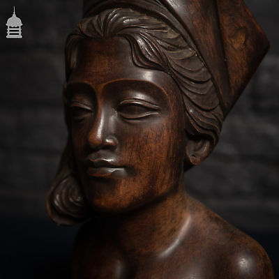 Beautifully Carved Antique Exotic Dark Wood Female Figure Bust