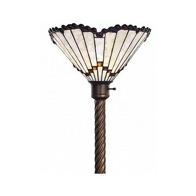 Tiffany Style White Jewel Lamp Stained Glass Torchiere Floor Light Shade