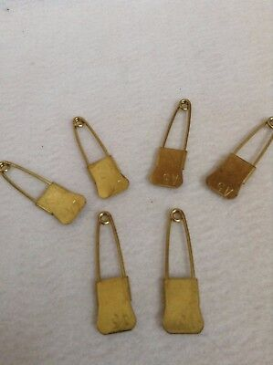 LOT OF 6 VINTAGE SAFETY BRASS LAUNDRY PIN BRASS MILITARY Pins