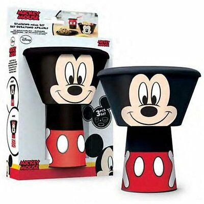 Disney Mickey Mouse Minnie Mouse 3 pcs Stacking Meal Set Plate Bowl Cup