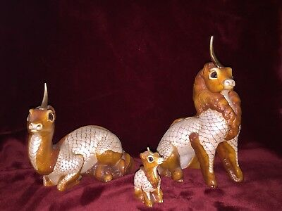 "3 WINDSTONE EDITIONS ""Ki-Rin"" MYTHICAL UNICORN Family Figurines Dragons"
