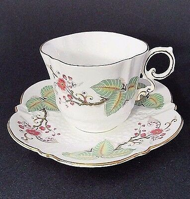 Aynsley China C1251 Pink Floral,Lg Leaves Embossed,Scalloped Sq Teacup Set