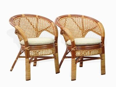 Set of 2 Pelangi Dining Armchairs Design Handmade Rattan Wicker, Cognac