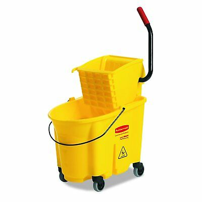 Wavebrake Mopping System Bucket and Side-Press Wringer Combo, 35-quart, Yellow