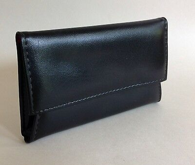 Vintage 1960s Large Black Vinyl Coin Purse Wallet With Bright Red Lining Madmen