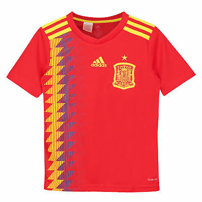Official Spain Football Home Shirt Jersey Tee Top 2018 Kids adidas