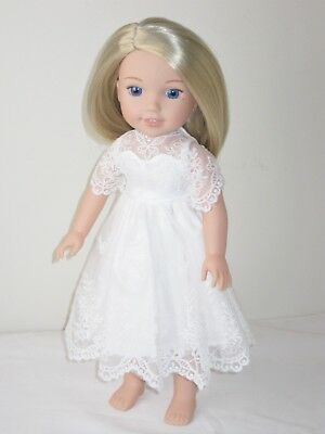 """Doll Clothes Off White Lace Dress Fits 14.5"""" American Girl Wellie Wishers"""