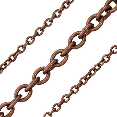 Antique Copper Plated on Steel 5x6mm Unfinished Oval Trace Chain 1m (G42/7)