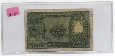 1951 Italy 50 Lire P-74   Circulated Note.    31/12/1951          #TF-30
