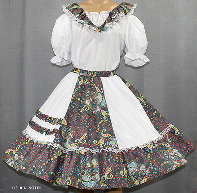 Nwt White, Pink, Turqoise, Green Paisly Flowers Square Dance Outfit Size Xl/2X