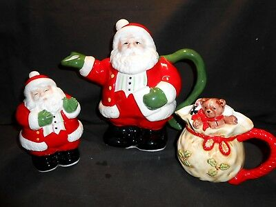 Pacific Rim Santa Claus Teapot Creamer & Covered Sugar Unused Displayed Only