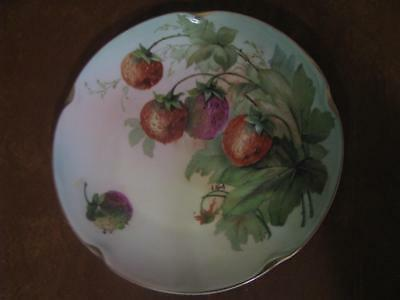 "Hand Painted Artist Signed Plate 7 3/4"" With Strawberries and Gold Rim"