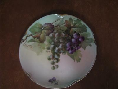"Hand Painted Artist Signed Plate 7 3/4"" With Grapes and Gold Rim"