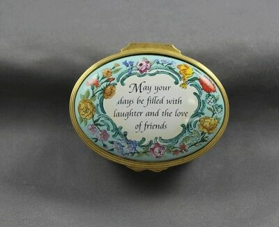 Halcyon Days Enamel Oval Trinket Box May Your Days Be Filled With Laugher