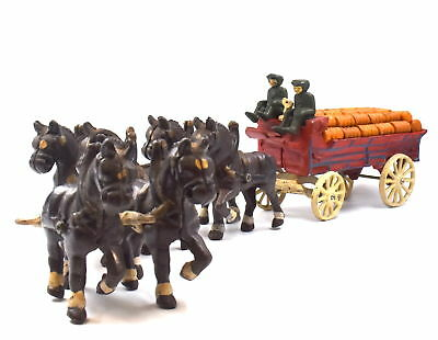 Vintage Cast Iron Clydesdale Horse Beer Keg Wagon Carriage Toy Anheuser Busch