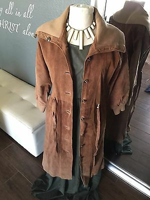 Baged-Or Suede And Leather Vintage Brown Rare Pea Coat With Set In Belt Size 38