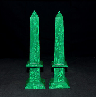 "Large 8.5"" Malachite Crystal Healing Energy 4 Faceted Obelisk Tower Combo Set"