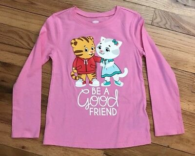 "New Daniel Tiger & Catarina Long Sleeve Pink Shirt ""Be A Good Friend"" 4T"