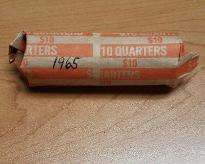 Full roll of 1965 US Washington Quarters (40 total coins) - circulated