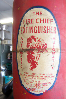 Antique Vintage The Fire Chief hanging automatic Fire Extinguisher FREE SHIP