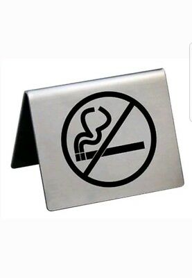 """New Star Foodservice 26832 Stainless Steel No Smoking Tent Sign 2 x1.5"""""""