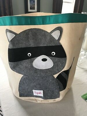 3 Sprouts Storage Bin - Raccoon  Soft Sided Cotton Canvas Large Capacity