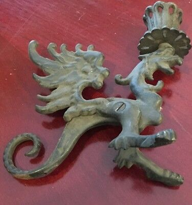 Vintage Black Cast Iron Winged Griffon Dragon Candle Holder