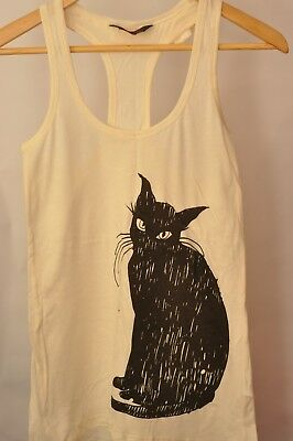 Le Chat Noir Black Cat Cream LongLine Tank Top Vest