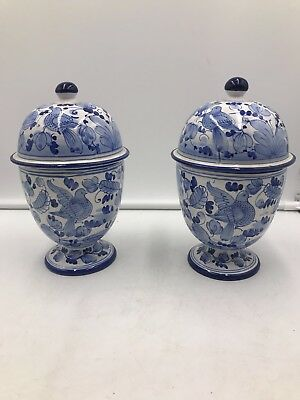 Vintage Italy Cobalt Blue White Majolica Dove Birds Ginger Jar Urn Porcelain SET