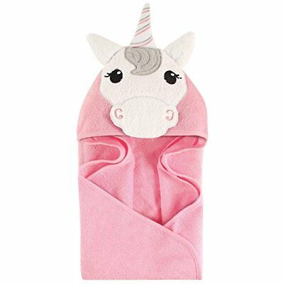 """Hudson Baby Animal Face Hooded Towel Unicorn  PINK NEW ADORABLE INFANT 33"""" X 33"""""""