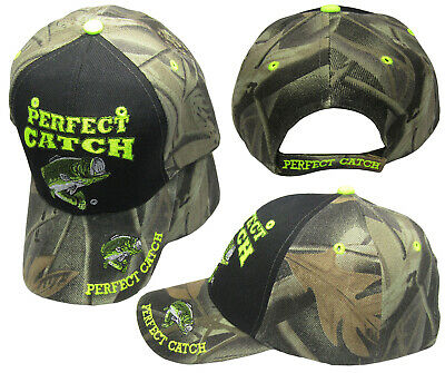 Perfect Catch Bass Fishing Camouflage Black Front Embroidered Cap CAP923A Hat