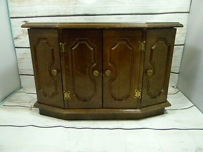 Vintage Large Wooden Jewelry Box Gold Tone Knobs 11 Drawers