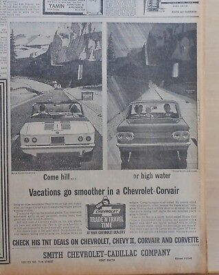 1963 newspaper ad for Chevrolet - Monza Spyder Convertible, Spyder Club Coupe