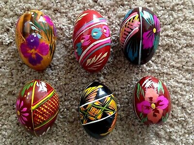 Polish Wooden Easter Eggs -  Six Hand Painted (set #1)