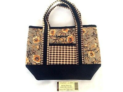 KHAKI FLORAL KHAKI CHECK Front Pocket Small Purse Tote Longaberger New cute