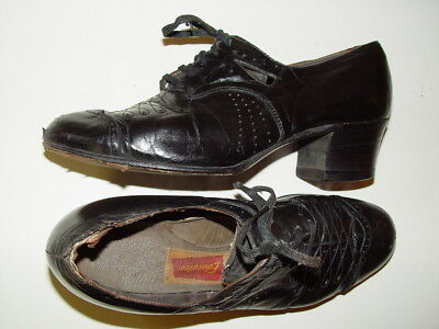 Awesome Antique Black Leather Lace Up Granny Shoes Fancy Educator