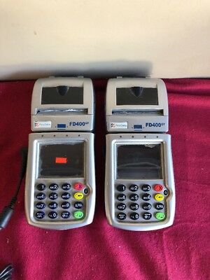 (2) FIRST DATA FD400GT Wireless Terminal Swipe Credit Card Machine