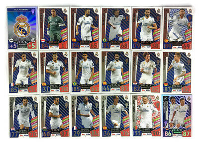 2017 2018 Topps Match Attax Champions League TEAM BASE set of 18 cards