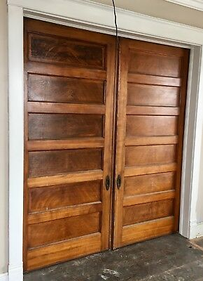 Antique Wood Match Pair Antique Raised Panel Oak Pocket Doors 41 X 96
