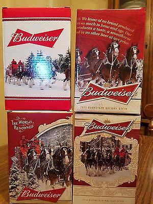 2013 2014 2015 2016 Budweiser Bud Holiday Steins  Clydesdale Christmas Busch AB