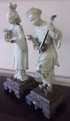 Antique Vintage Cast Metal Oriental Man & Woman Statue Figurine Pair