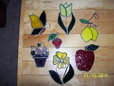 7 Stained Glass Lead Lined Iridescent Suncatcher Window Hangings, Variety