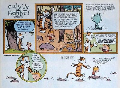 Calvin and Hobbes by Watterson - large half-page Sunday comic - June 21, 1992