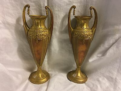 Antique Pair JB Jennings Brothers Art Nouveau Bronze Gold Trophy Urn Style Vases