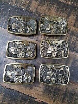 White Commemorate Limited Edition Tractor Belt Buckle Set of 6 1982