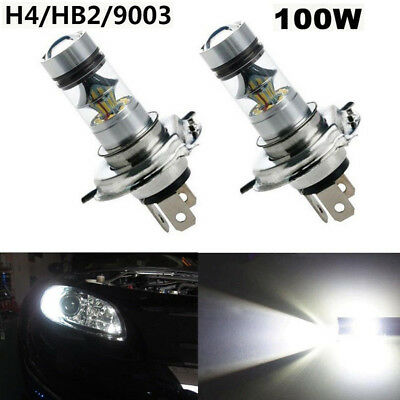 2X H4 CREE 100W 6000K White LED Car Power Fog DRL Driving HeadLights Bulb 12V
