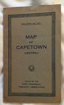Map Of Cape Town South Africa Circa 1920
