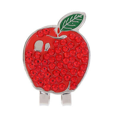 Funny Red Apple Alloy Magnetic Hat Clip with Golf Ball Marker Golfer Gift